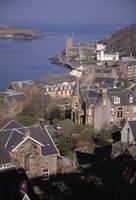 Birds-eye view of port town of Oban