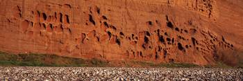 Eroded cliffs on the beach Budleigh Salterton Dev