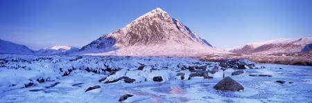 Snowcapped mountain Buachaille Etive Mor Highland