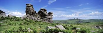 Rock formations on a hill Hound Tor Dartmoor Devo