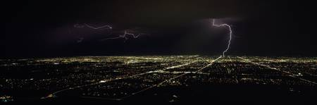 Lightning in the sky over a city