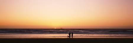 Couple w/ dog at sunset on Ocean Beach Southern C