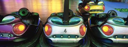 Close-up of bumper cars