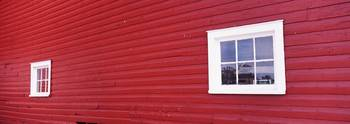 Windows in a red building