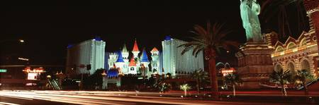 Looking at Excalibur Casino at night Las Vegas NV