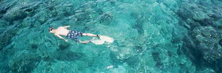 High angle view of a man snorkeling