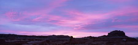 Silhouette of rock formations on an arid landscap