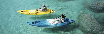 High angle view of a man and a woman in a kayak