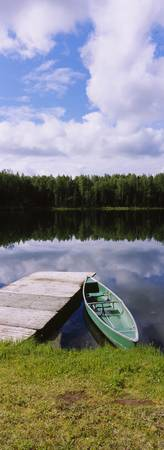 Canoe docked in a lake