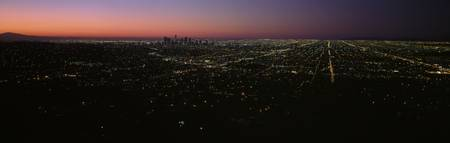 City at night from Griffith Park Observatory