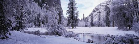Winter Merced River Yosemite Valley CA