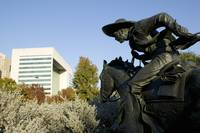 Statue of a cowboy on a horse