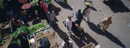 High angle view of a vegetable market