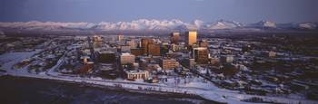 Anchorage at the base of Chugach Mtns AK USA