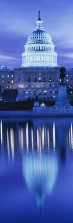 Reflection of a government building on water