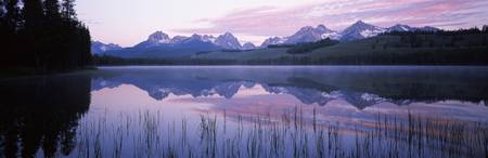Reflection of mountains in a lake Little Redfish