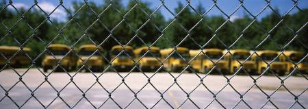 Chain-link fence with school buses in the backgro