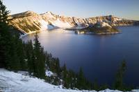 Dusting of snow over Crater Lake and Wizard Islan