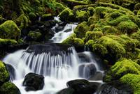 Waterfall over mossy rocks