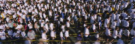 High angle view of a group of people at the finis