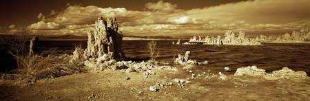 Tufa rock formations at the lakeside