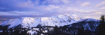 Panoramic view of snowcapped mountain range
