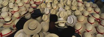 High angle view of hats in a market stall