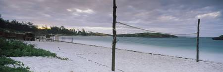 Beach volleyball net on the beach