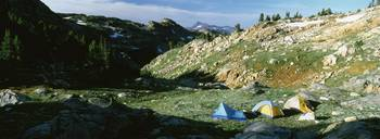 Dome tents in a landscape