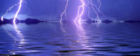 Lightning over the sea