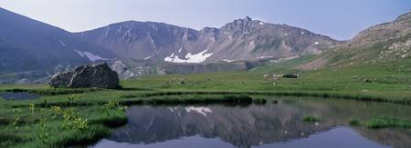 Mountains surrounding a lake