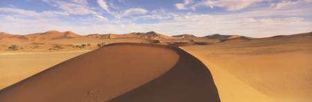 Sand dunes in an arid landscape