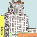 """El Cortez Color Drawing by RD Riccoboni"" by RDRiccoboni"