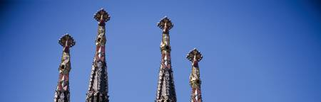 Architectural details of the spires of a church