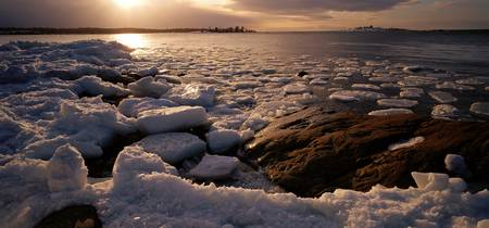 Icy coast and ice floes of Bothnian Sea Kont Natu