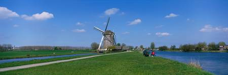 Windmill and Canals near Leiden The Netherlands