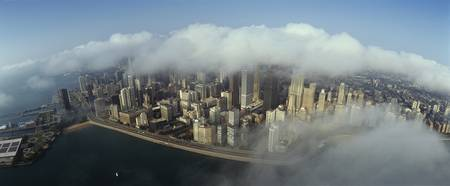 High angle view of clouds over a city