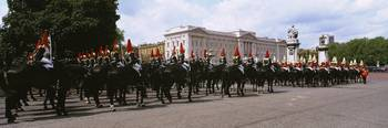 British royal guards horseback riding in front of