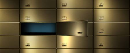 Safety deposit boxes in a wall