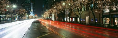 Blurred Motion Of Cars Along Michigan Avenue Illu
