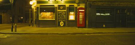 Telephone booth outside a pub