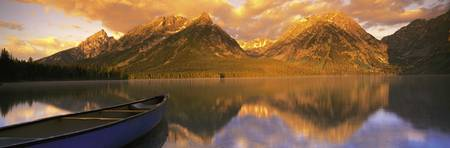 Canoe Leigh Lake Grand Teton National Park WY