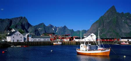 Harbor and boats Hamnoey Lofoten Norway
