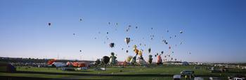 Hot air balloons floating in sky Albuquerque Inte