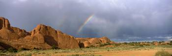 Rainbow over Devils Garden Arches National Park U