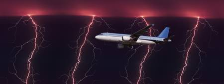 Airplane in flight through a lighting and rain st
