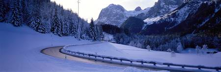 Mountain Road in Winter near Ramsau Germany