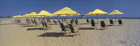 Beach Chairs and Umbrellas on Beach CA