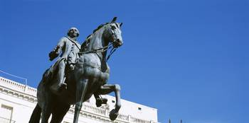 Low angle view of an equestrian statue of a king