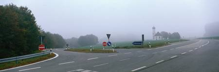 Road Intersection in Fog near Adelzhausen Germany